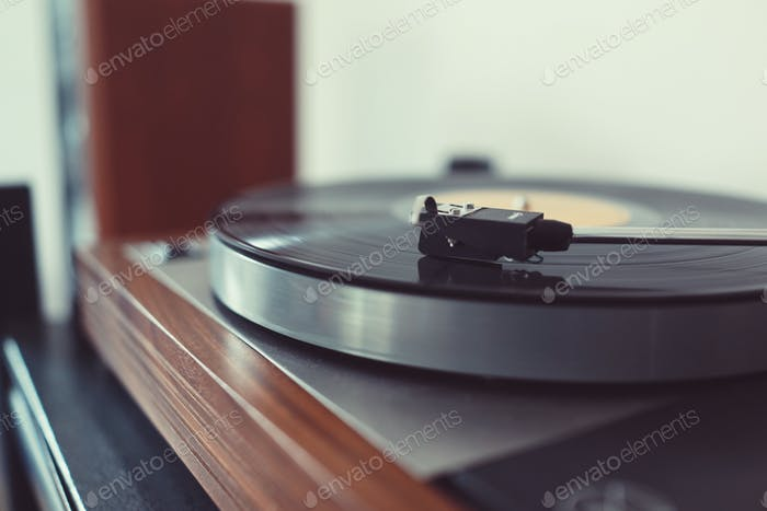 turntable playing music from record