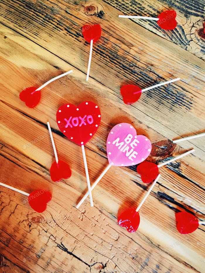 Lollipops on a table
