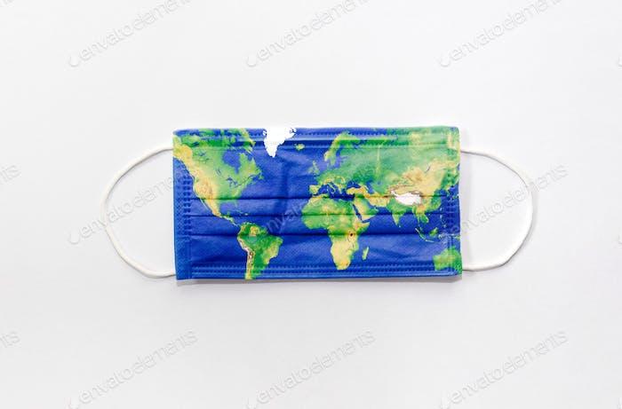 Protetctive face mask on white background. World map, global, epidemic, corona, covid.