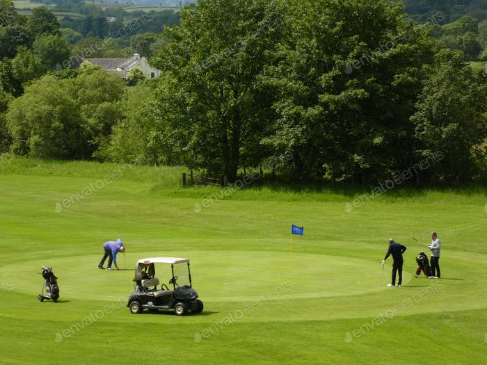 A golf group On the golf green