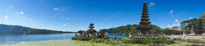 Panoramic view of a floating temple in Bali, Indonesia