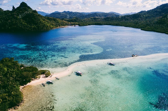 Snake Island El Nido drone shot