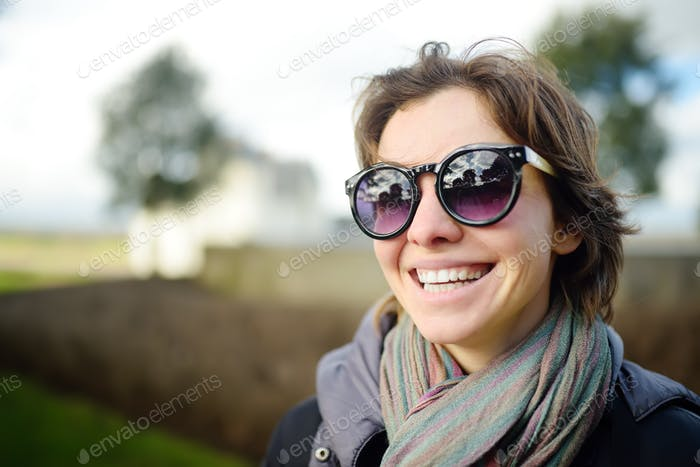 charming, young, woman, sunglasses, outdoors, healthy, beauty, positive, emotion, joy, life, lifesty
