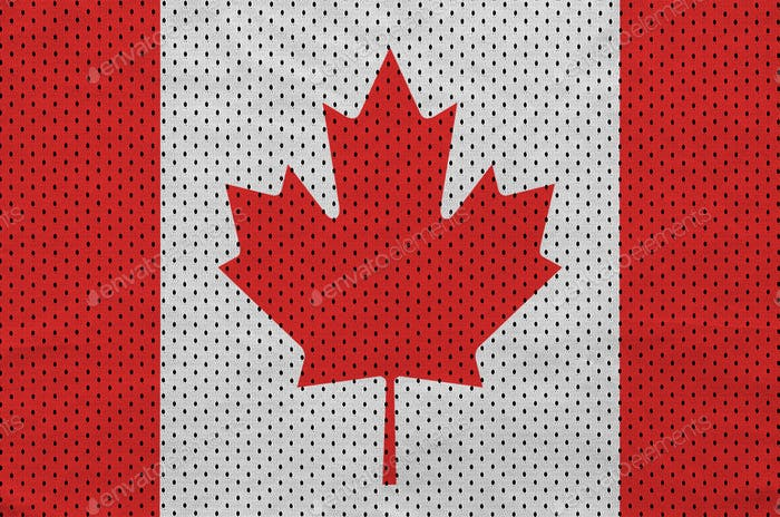 Canada flag printed on a polyester nylon sportswear mesh fabric with some folds