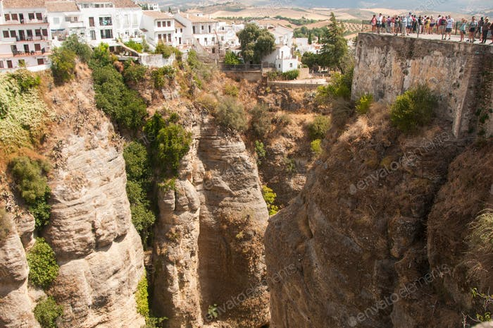 Town soaring over the abyss. Ronda. Spain. Houses built over a cliff.