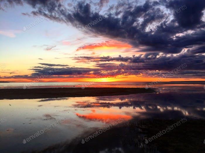 Epic sunset on Baltic Sea