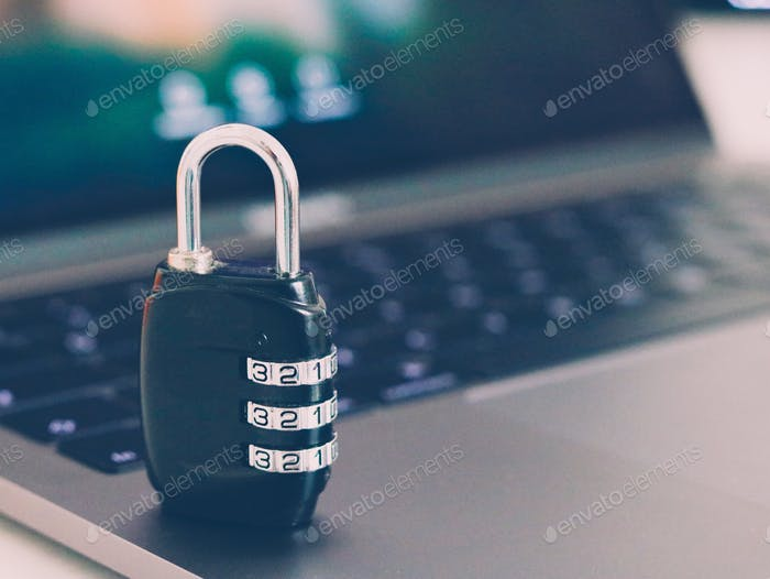 Cyber security. Lock with password