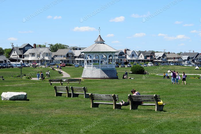 People milling around in Ocean Park, in Oak Bluffs, Massachusetts on the island of Martha