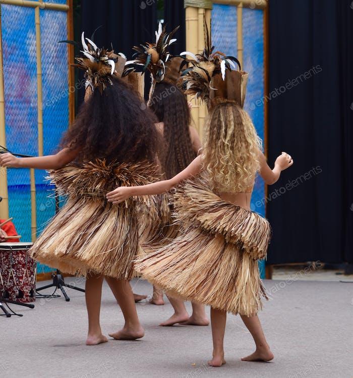 Young girls Polynesian dancing in San Diego