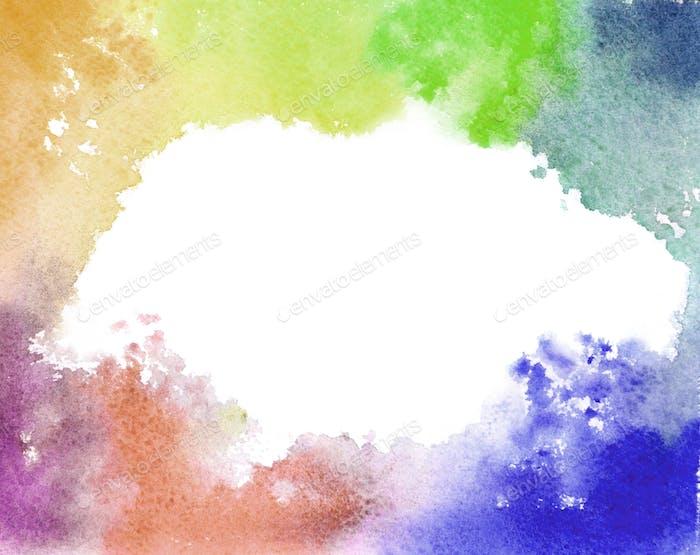 El mapa del mundo está hecho con pinturas de acuarela de colores sobre papel blanco con la participación de un