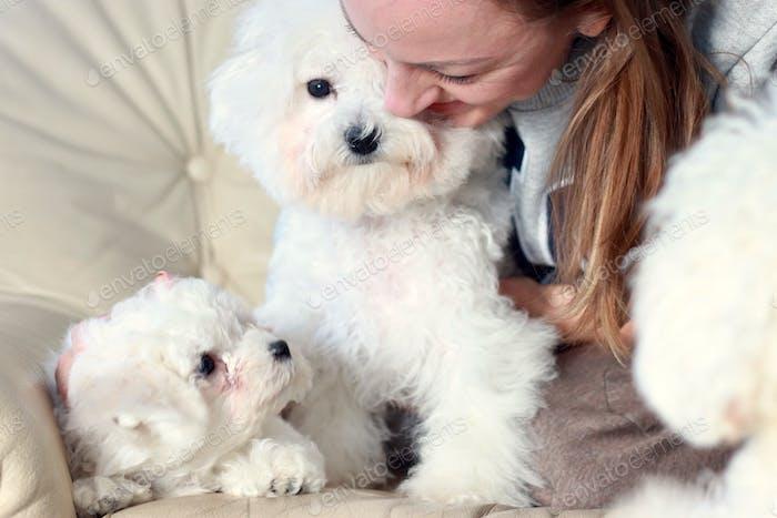 A woman hugs a puppies.