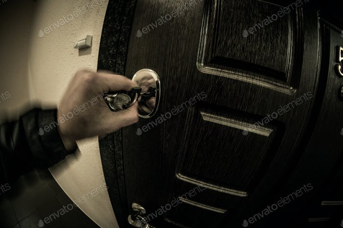Closing the door with a key