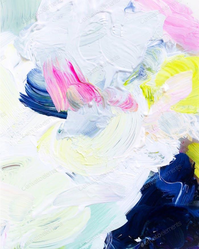 Full frame detail shot of abstract brushstrokes texture in artist's paint palette.