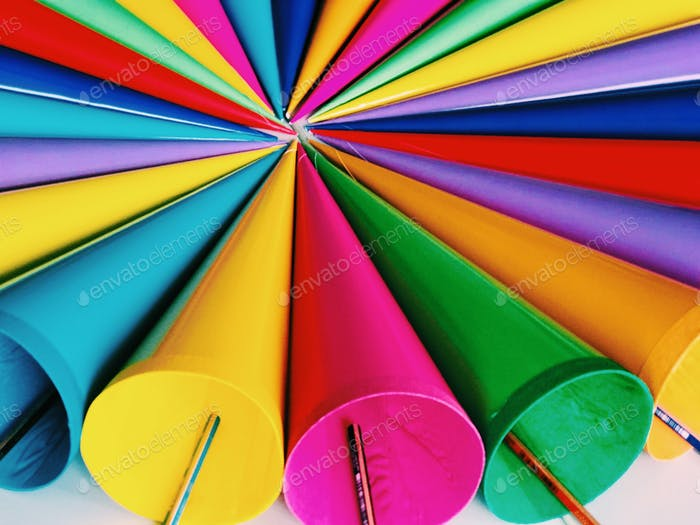 Colorful paper funnels