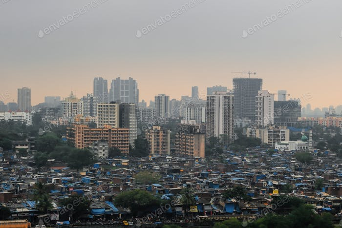 Cityscape - depiction of the rich and poor homes