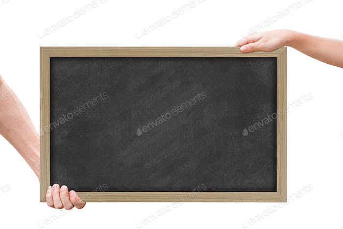 Two hand holding blackboard isolated on white background with clipping path