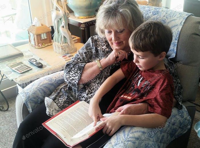 Grandma reading with a grandkid...
