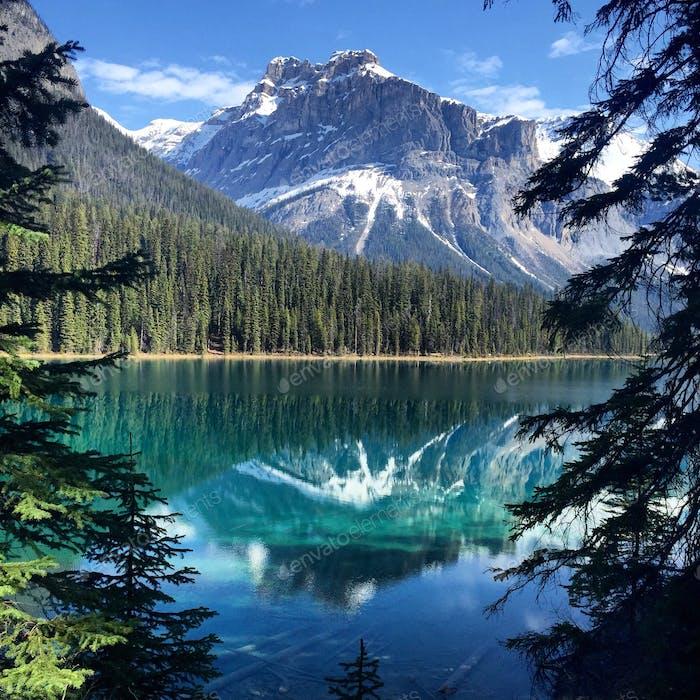 Glassy surface of Emerald Lake