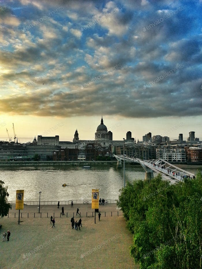 London. Thames River and Saint Paul Cathedral at sunset