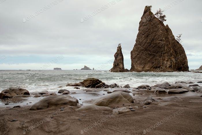 Haystack rocks off Rialto beach on the Washington coast