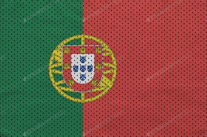 Portugal flag printed on a polyester nylon sportswear mesh fabric with some folds