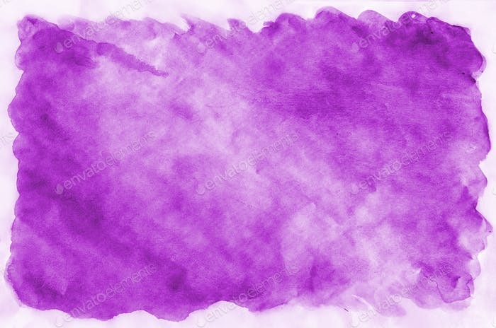 Watercolor background of contrasting spots of bright purple paint