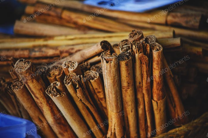 Cinnamon sticks in a street market