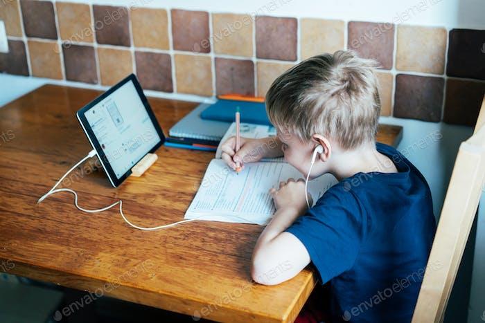 education; student; coronavirus; laptop; quarantine; internet; child; learning; home; indoor; study;