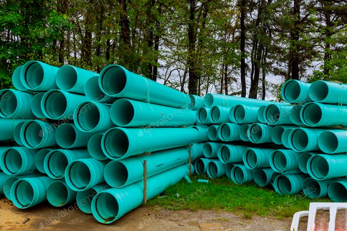 Green plastic pvc pipe stock for industry for drains water for building
