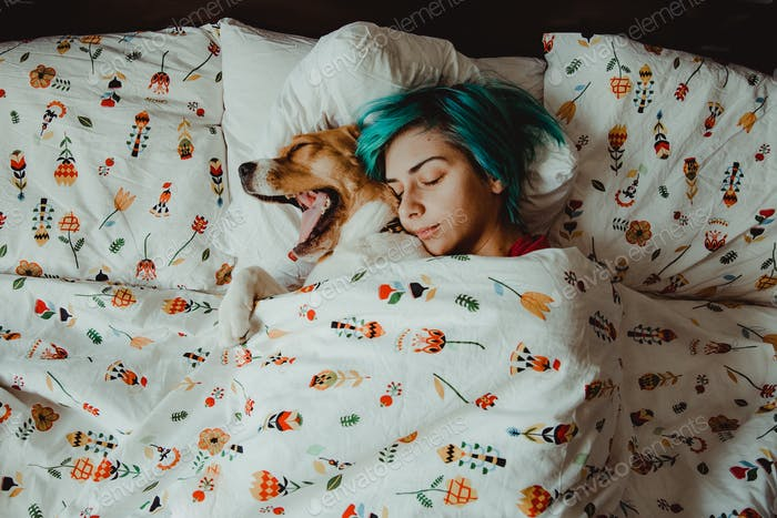 Nuca the beagle and her girlfriend, sleeping in bed