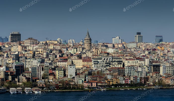 Istanbul Galata Tower and Old City view through Golden Horn