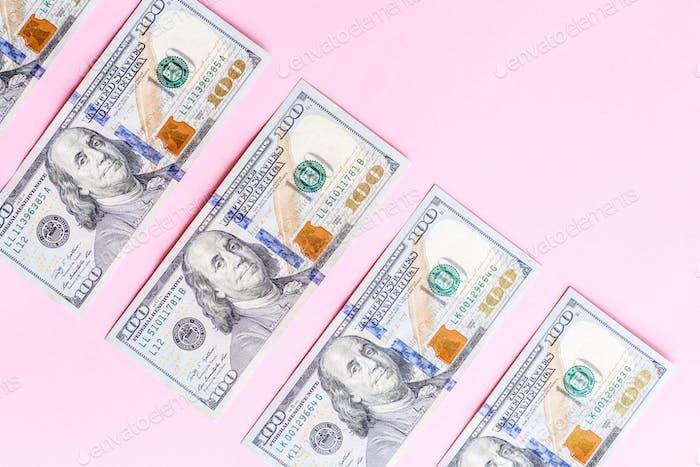 ⭐️⭐️⭐️ Nominiert ⭐️⭐️⭐️  Cash Rechnung hundert Dollar Banknoten Geld rosa Hintergrund