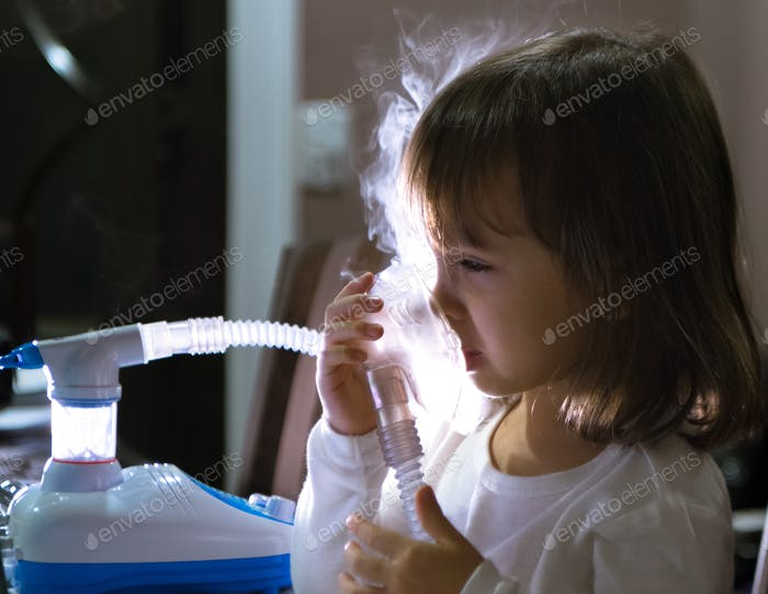 Asthma treatment with nebulizer.