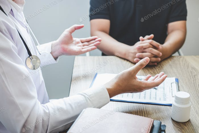 Doctor consulting with patient examining for patient