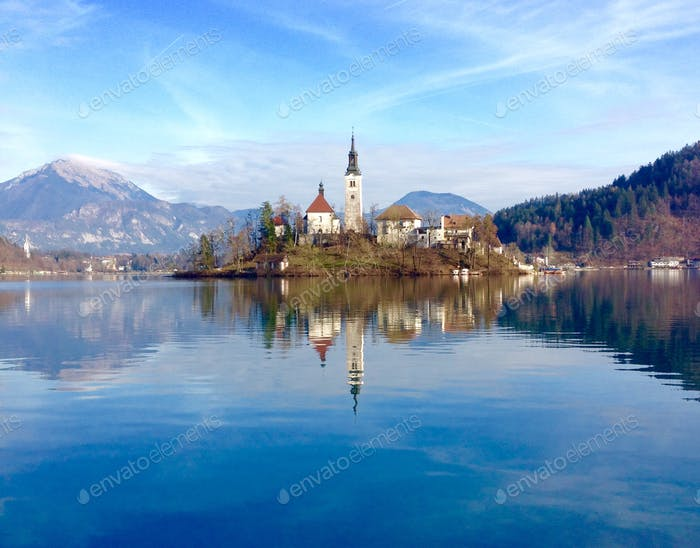 Baroque Church on the 'Magestic' Lake Bled, Slovenia