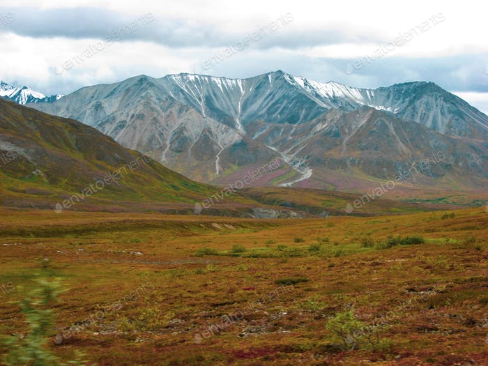 A spectacular end-of-summer view of the Alaska Mountain range in Denali National Park and Preserve.