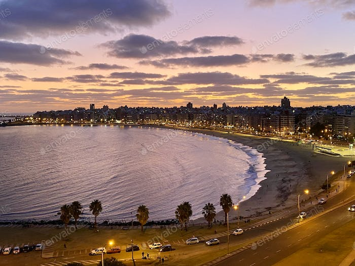 Beautiful sunset over the beach in Montevideo, Uruguay.
