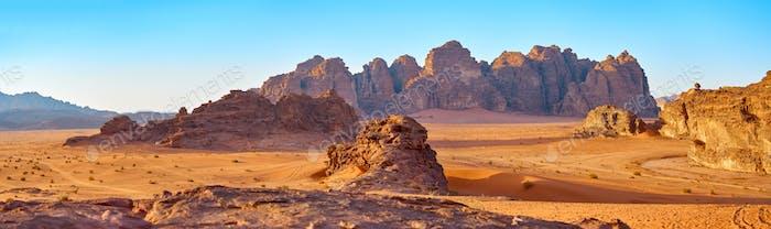 The fantastic mountains in desert Wadi-Rum, Jordan