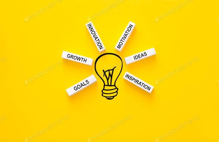 Glühbirne und Holzbausteine mit innovativen Basislinks. Geschäftsideen Inspiration und Innovation.
