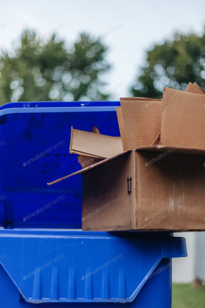 Cardboard boxes sitting on top of a recycling bin, environmentally friendly, conscious