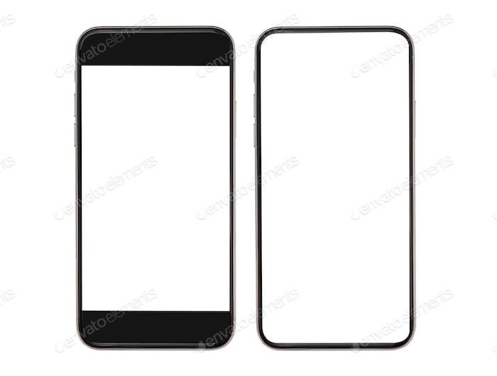 leerer Bildschirm Smartphone-Mockup isoliert mit Clipping-Pfad auf weißem Hintergrund