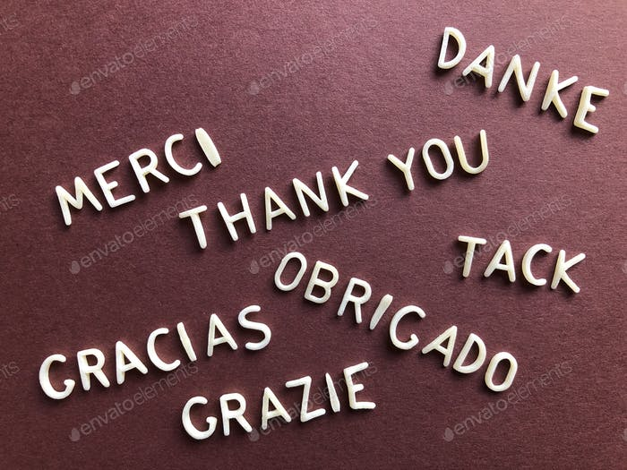 Thank you in different languages including French/ Merci