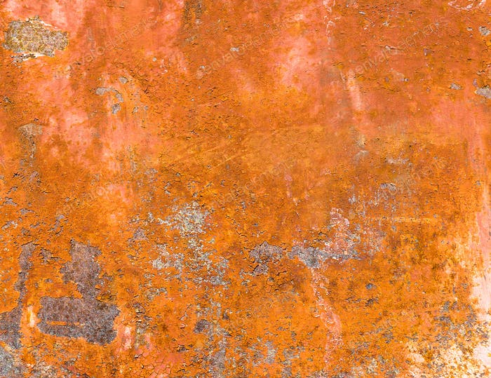 Rusted metal plate with peeling paint. Severe metal corrosion. Grungy texture. Background series.