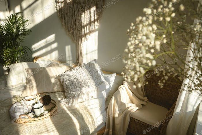 cozy bedroom background with window light and shadows