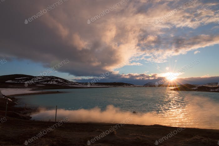 Geothermal lagoon in Mvatn, Iceland