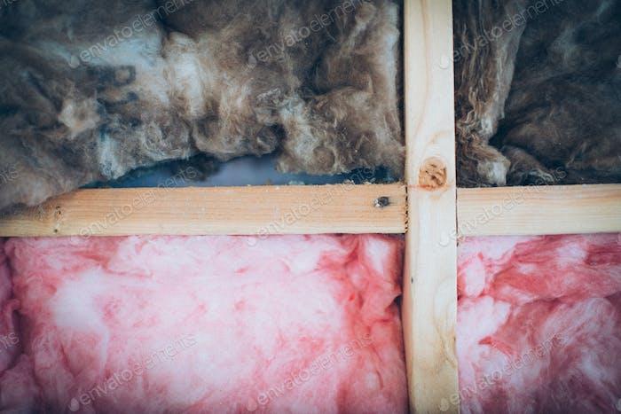Pink and brown fiberglass insulations