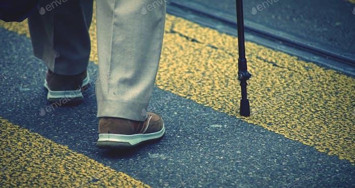 Slow walk-A senior man