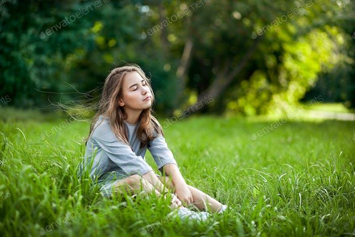 dreamy girl in the park