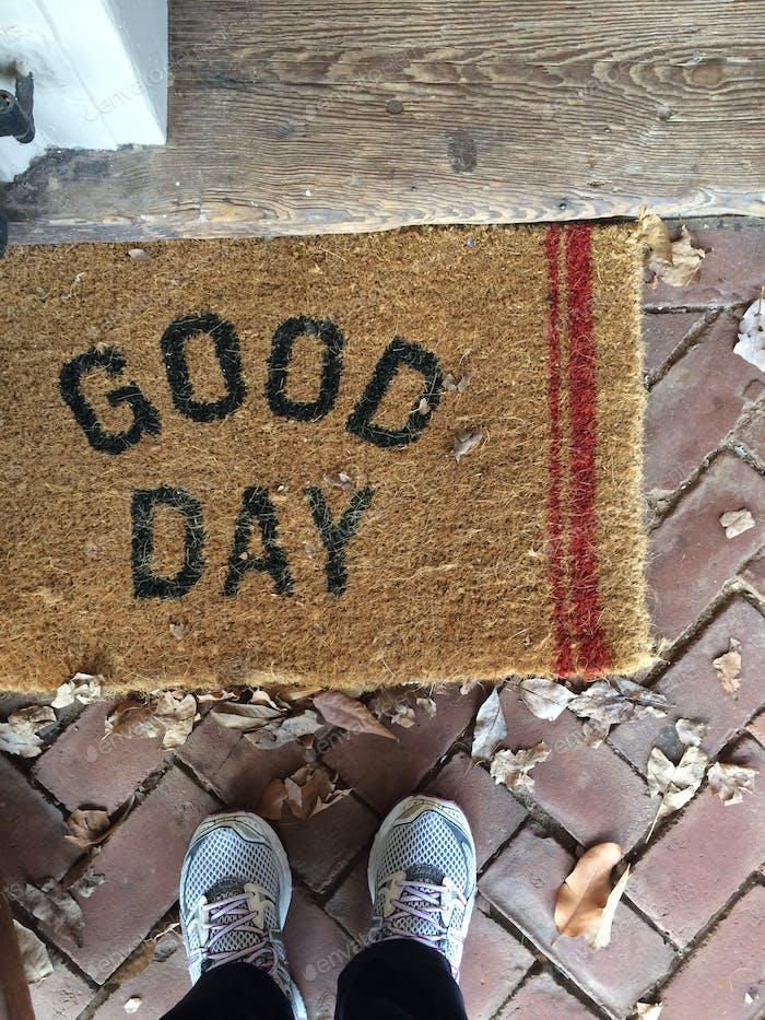 Guten Tag Hause Eingang Teppich. Eingang, nach Hause, Teppich, Willkommen, Haus, Tür, Füße, Draufsicht, von wo ich