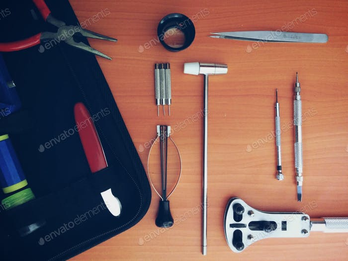 Uhrmacher Werkzeuge. Flache Laien-Artikel